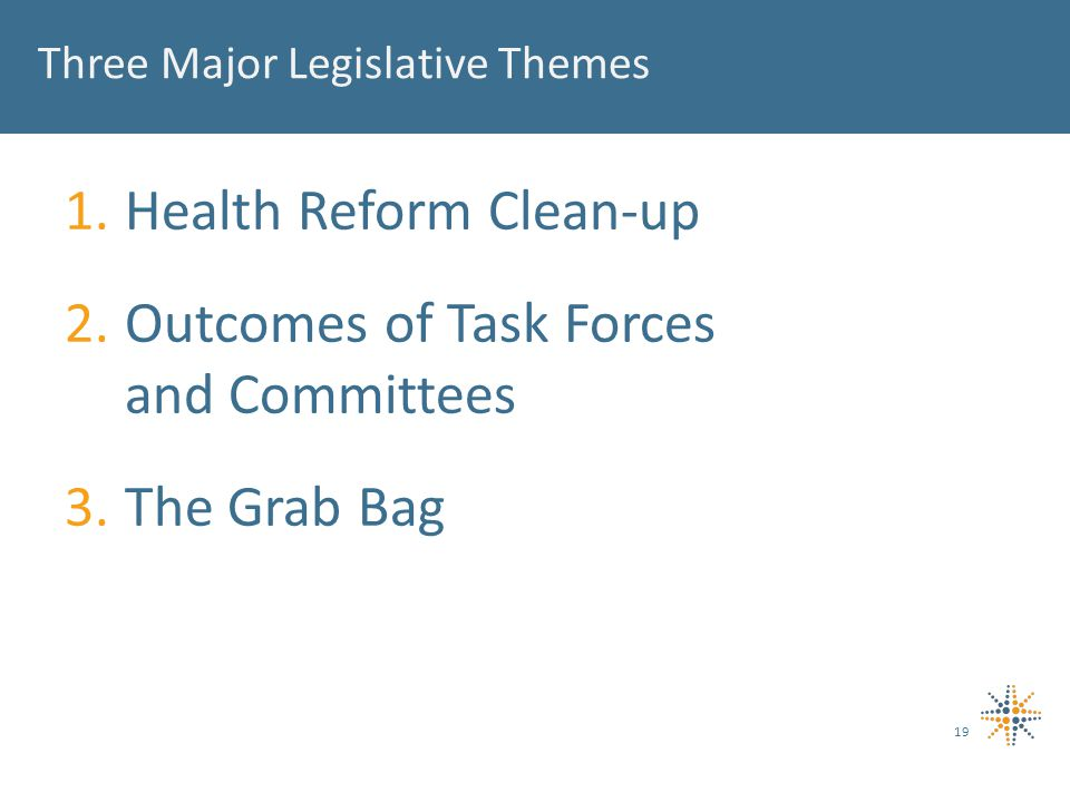 Three Major Legislative Themes 1.Health Reform Clean-up 2.Outcomes of Task Forces and Committees 3.The Grab Bag 19