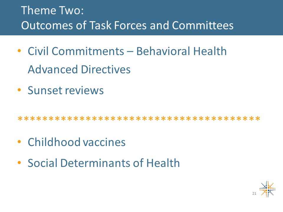 Theme Two: Outcomes of Task Forces and Committees Civil Commitments – Behavioral Health Advanced Directives Sunset reviews *************************************** Childhood vaccines Social Determinants of Health 21
