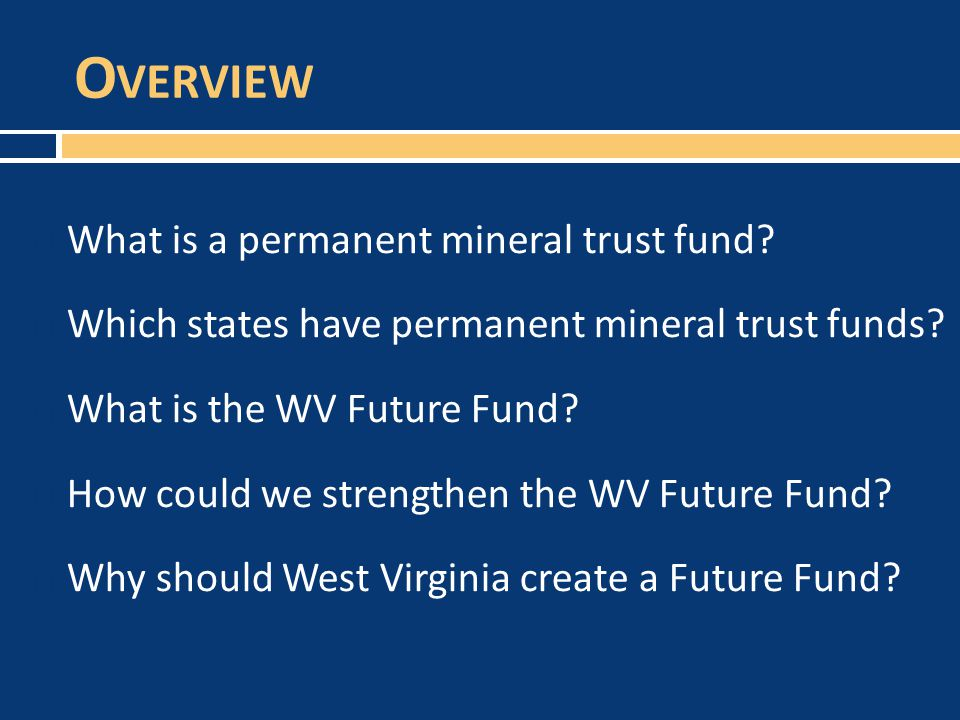 O VERVIEW  What is a permanent mineral trust fund.