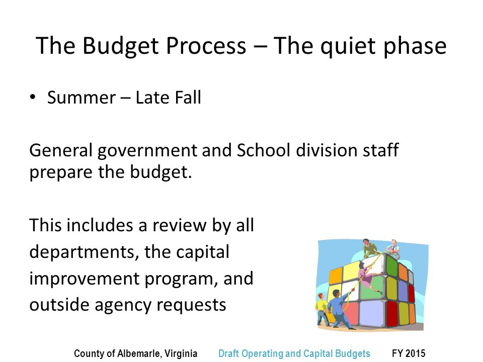 The Budget Process – The quiet phase Summer – Late Fall General government and School division staff prepare the budget.