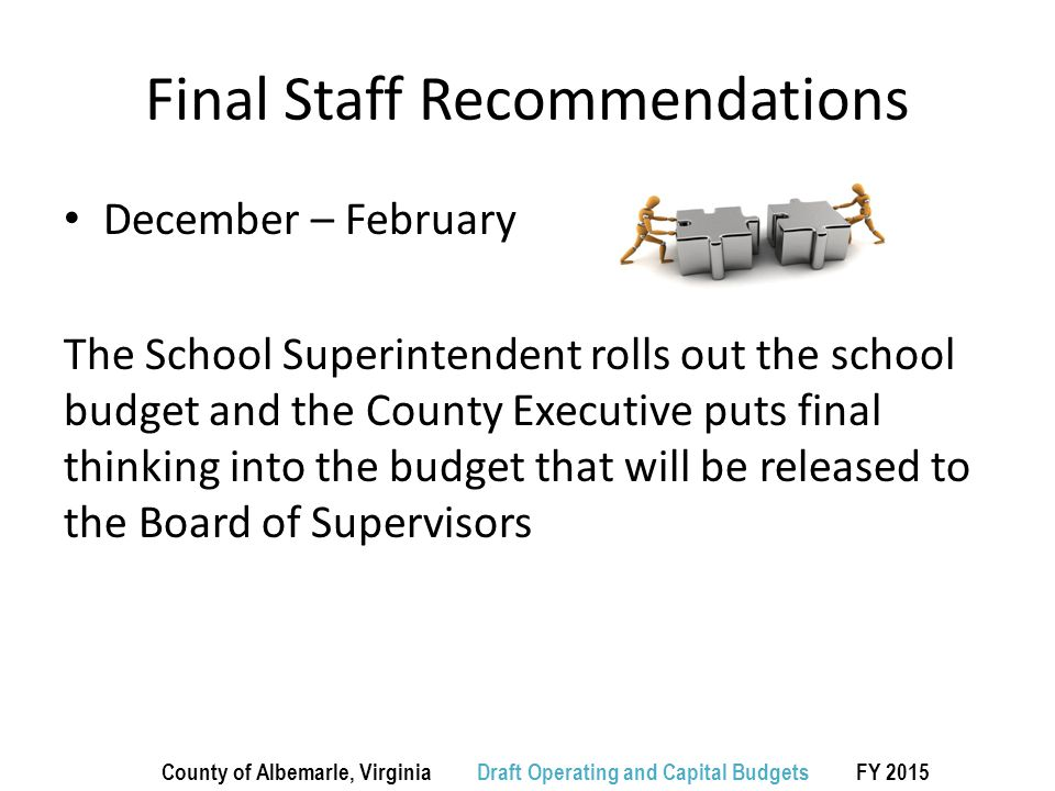 Final Staff Recommendations December – February The School Superintendent rolls out the school budget and the County Executive puts final thinking into the budget that will be released to the Board of Supervisors County of Albemarle, Virginia Draft Operating and Capital Budgets FY 2015