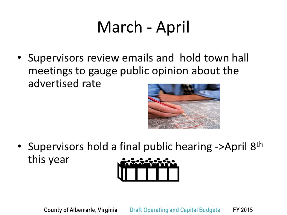 March - April Supervisors review emails and hold town hall meetings to gauge public opinion about the advertised rate Supervisors hold a final public hearing ->April 8 th this year County of Albemarle, Virginia Draft Operating and Capital Budgets FY 2015