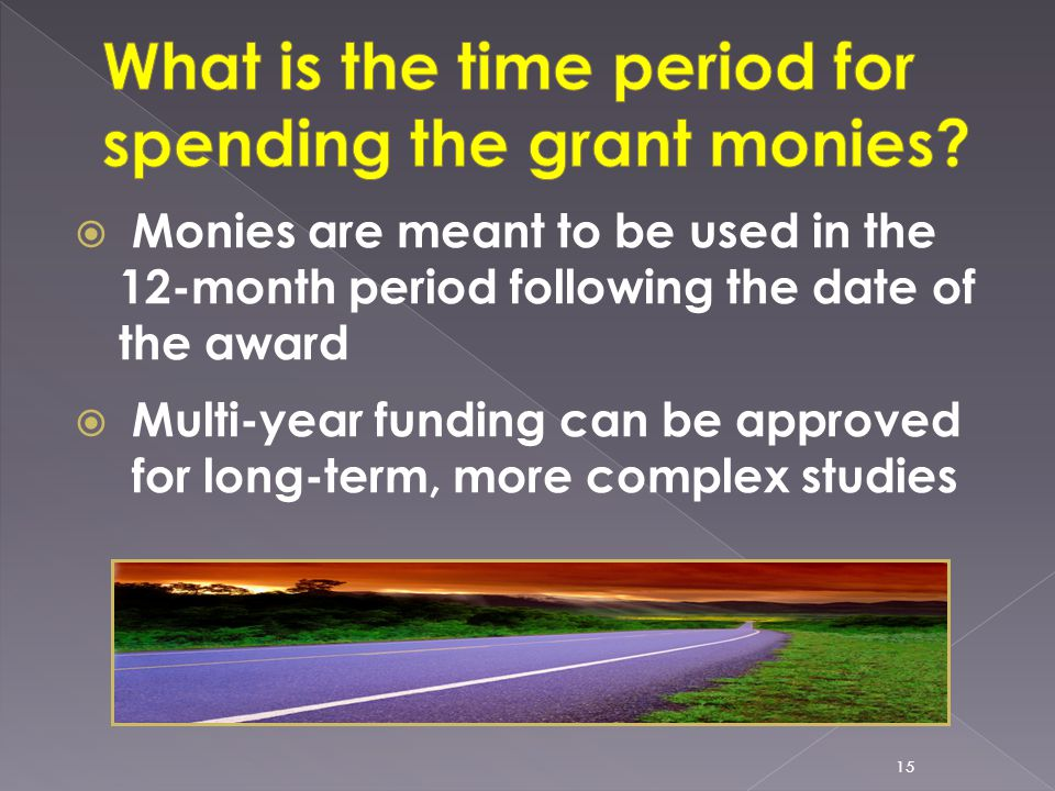  Monies are meant to be used in the 12-month period following the date of the award  Multi-year funding can be approved for long-term, more complex studies 15