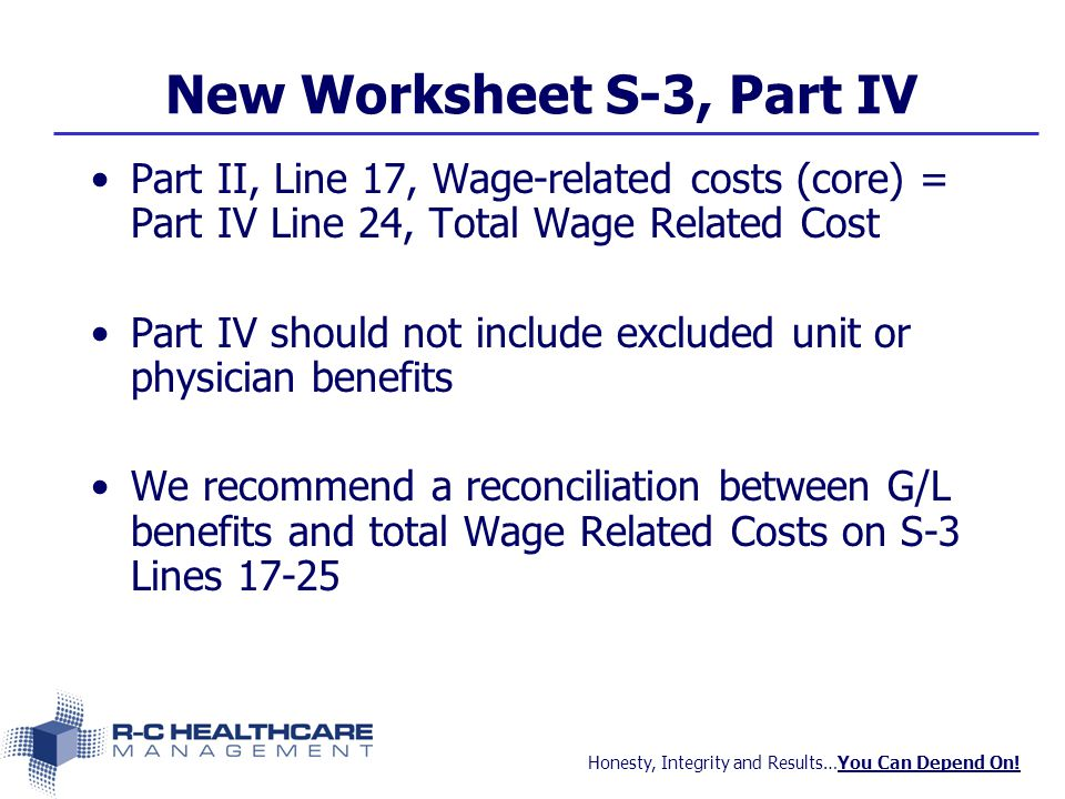 Honesty, Integrity and Results…You Can Depend On! New Worksheet S-3, Part IV Part II, Line 17, Wage-related costs (core) = Part IV Line 24, Total Wage