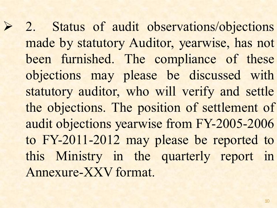 10  2. Status of audit observations/objections made by statutory Auditor, yearwise, has not been furnished. The compliance of these objections may pl