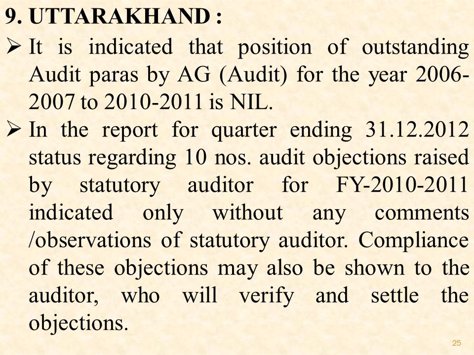 25 9. UTTARAKHAND :  It is indicated that position of outstanding Audit paras by AG (Audit) for the year 2006- 2007 to 2010-2011 is NIL.  In the rep