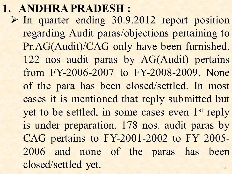 9 1. ANDHRA PRADESH :  In quarter ending 30.9.2012 report position regarding Audit paras/objections pertaining to Pr.AG(Audit)/CAG only have been fur