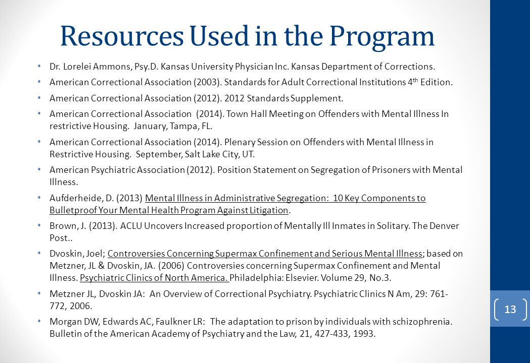 Resources Used in the Program Dr. Lorelei Ammons, Psy.D. Kansas University Physician Inc. Kansas Department of Corrections. American Correctional Asso