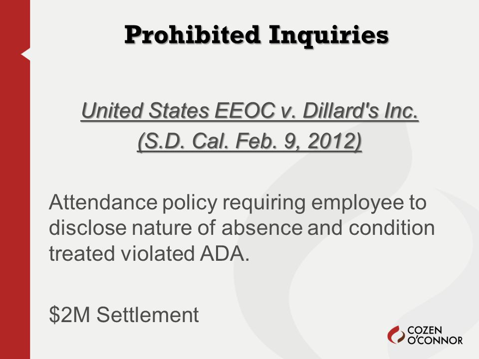 Prohibited Inquiries United States EEOC v. Dillard s Inc.