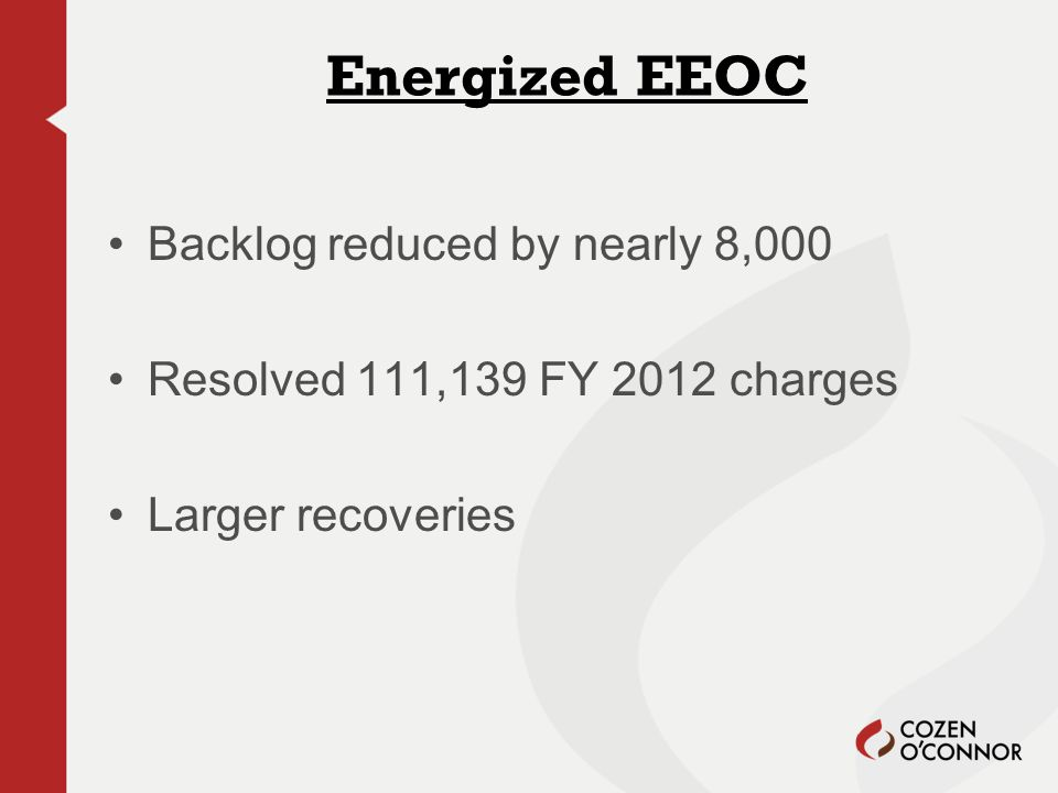 Backlog reduced by nearly 8,000 Resolved 111,139 FY 2012 charges Larger recoveries