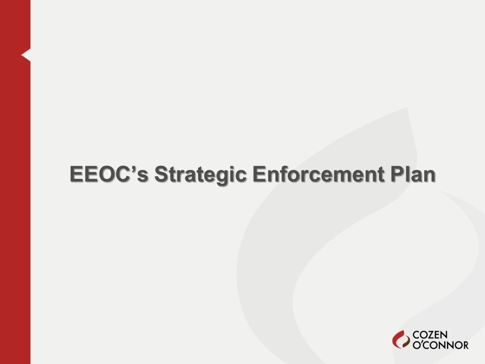 Strategic Enforcement Plan Approved on December 17, 2012 Road Map of EEOC's Focus During Next Three Years Requires District & Field Office SEPs by March 29, 2013