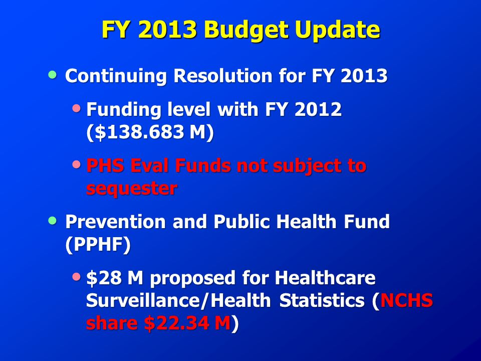 FY 2013 Budget Update Continuing Resolution for FY 2013 Continuing Resolution for FY 2013 Funding level with FY 2012 ($138.683 M) Funding level with FY 2012 ($138.683 M) PHS Eval Funds not subject to sequester PHS Eval Funds not subject to sequester Prevention and Public Health Fund (PPHF) Prevention and Public Health Fund (PPHF) $28 M proposed for Healthcare Surveillance/Health Statistics (NCHS share $22.34 M) $28 M proposed for Healthcare Surveillance/Health Statistics (NCHS share $22.34 M)