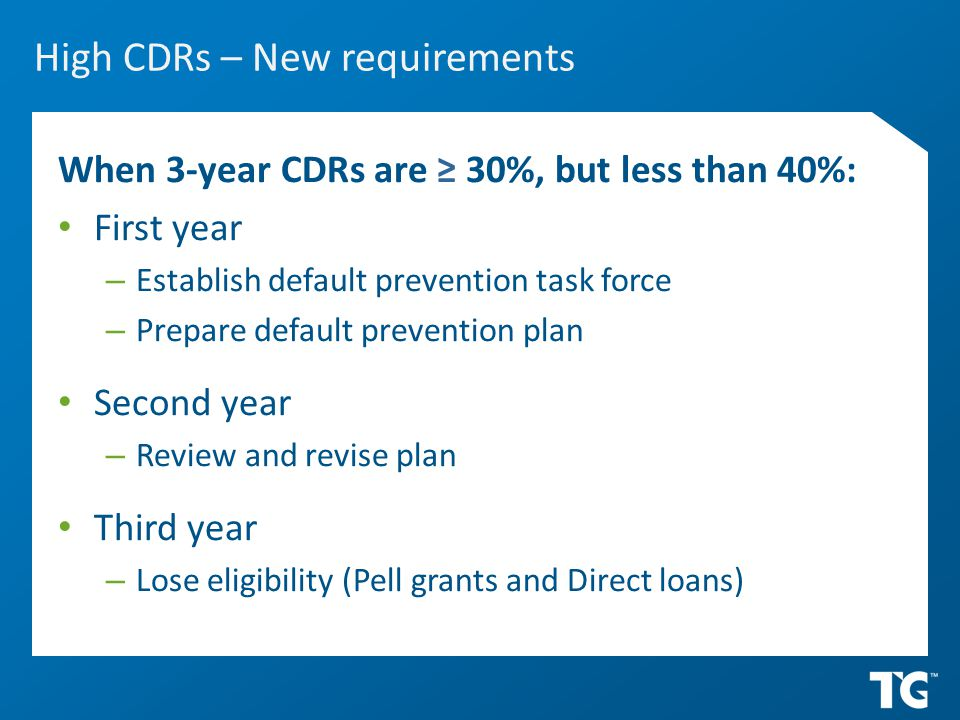 High CDRs – New requirements When 3-year CDRs are ≥ 30%, but less than 40%: First year – Establish default prevention task force – Prepare default prevention plan Second year – Review and revise plan Third year – Lose eligibility (Pell grants and Direct loans)