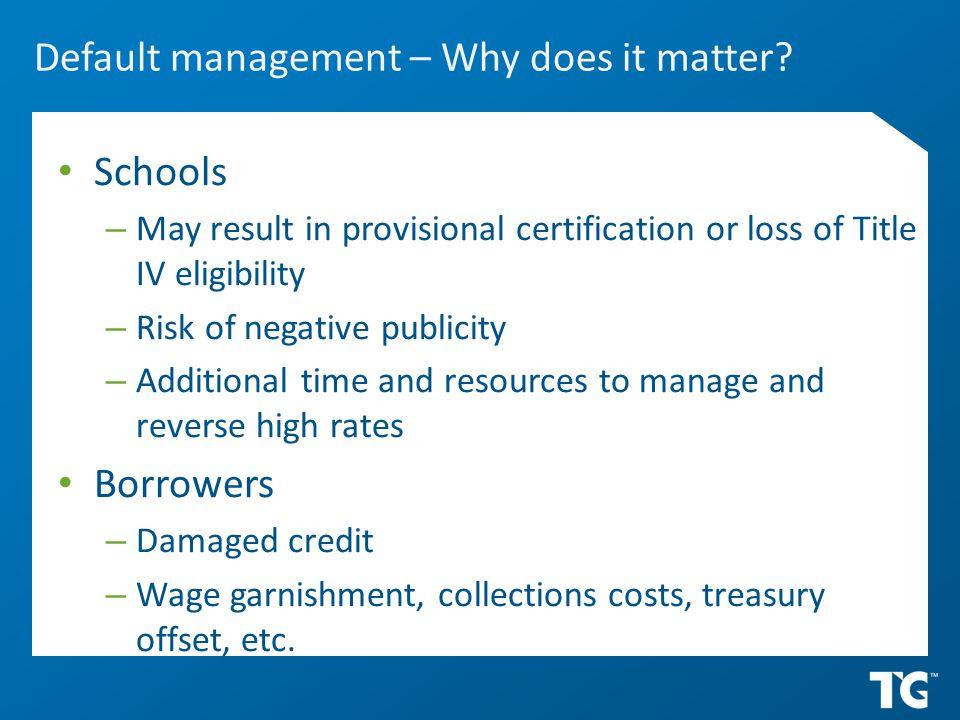 Default management – Why does it matter.
