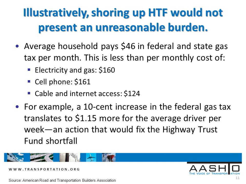 WWW.TRANSPORTATION.ORG 11 Source: American Road and Transportation Builders Association Illustratively, shoring up HTF would not present an unreasonable burden.