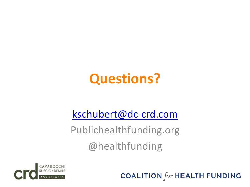 Questions? kschubert@dc-crd.com Publichealthfunding.org @healthfunding