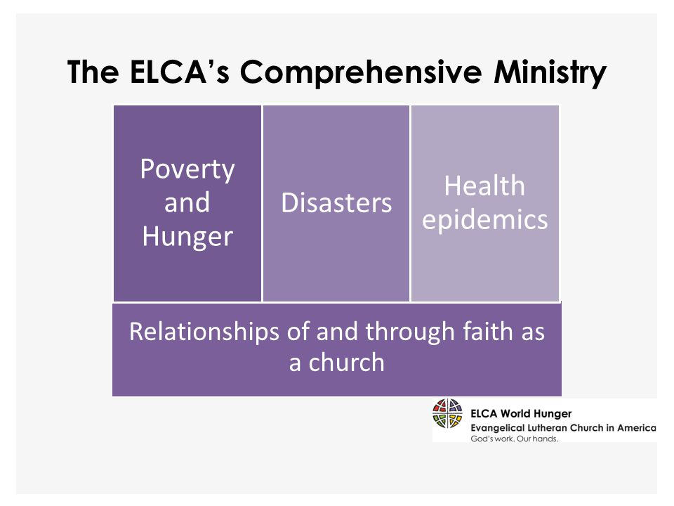 The ELCA's Comprehensive Ministry Relationships of and through faith as a church Poverty and Hunger Disasters Health epidemics