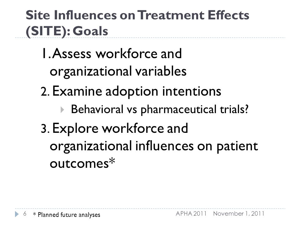 Site Influences on Treatment Effects (SITE): Goals 1.