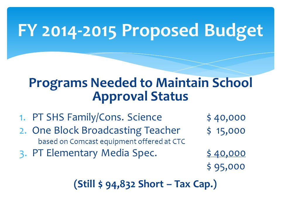 Programs Needed to Maintain School Approval Status 1.