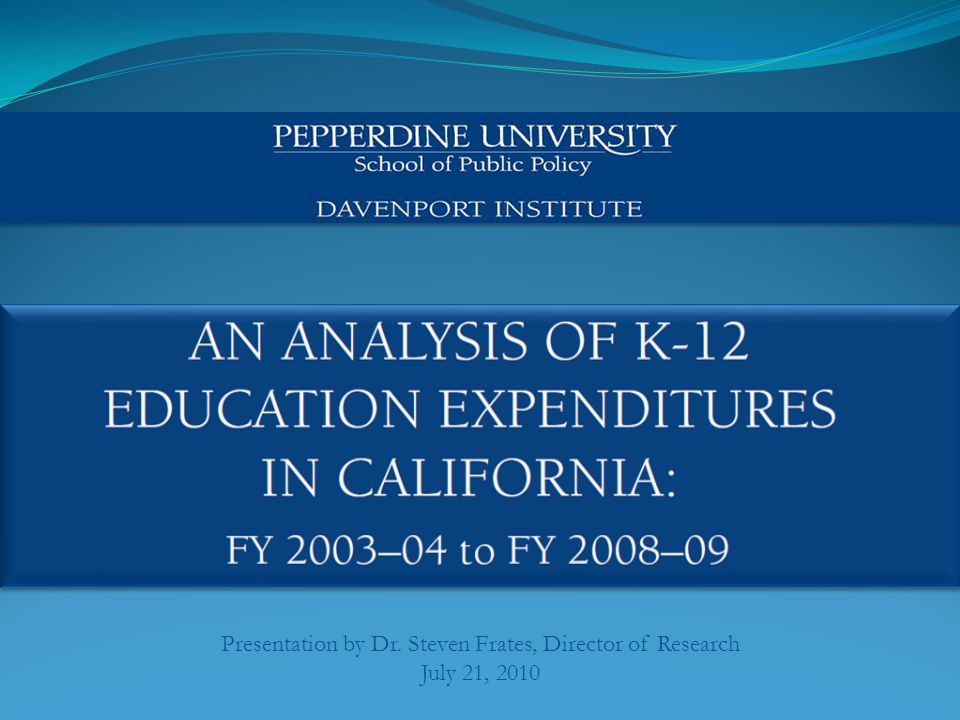 2 One in a series on K-12 Education expenditure patterns in California The report has 4 Sections: o Section 1: Statewide Summary Data o Section 2: Statewide Special Education Data o Section 3: Selected School District Comparisons o Section 4: Selected 52 School District Profiles Partial Funding for this report provided by the California Chamber of Commerce Educational Foundation