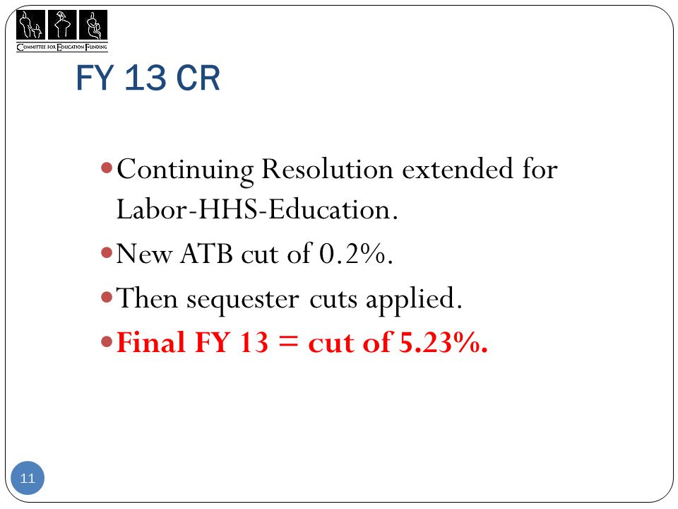 FY 13 CR Continuing Resolution extended for Labor-HHS-Education.