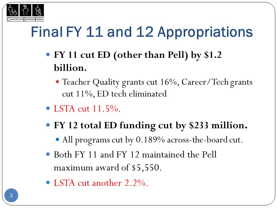 Final FY 11 and 12 Appropriations FY 11 cut ED (other than Pell) by $1.2 billion.