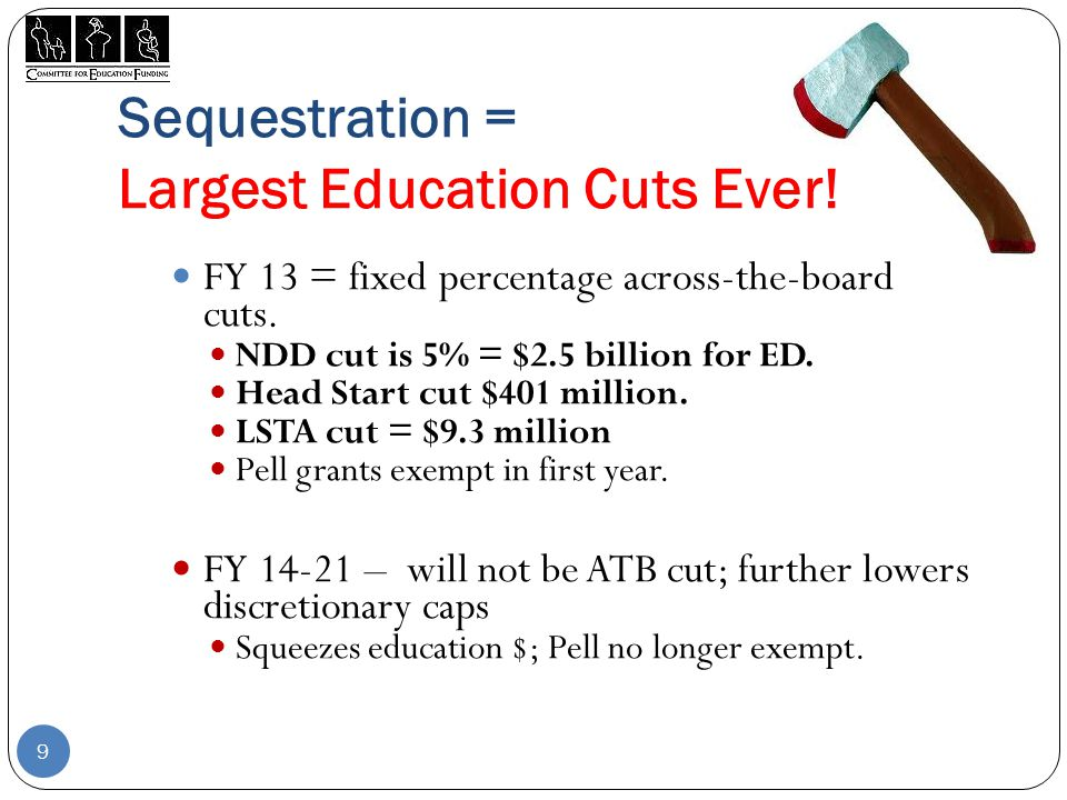 Sequestration = Largest Education Cuts Ever. FY 13 = fixed percentage across-the-board cuts.