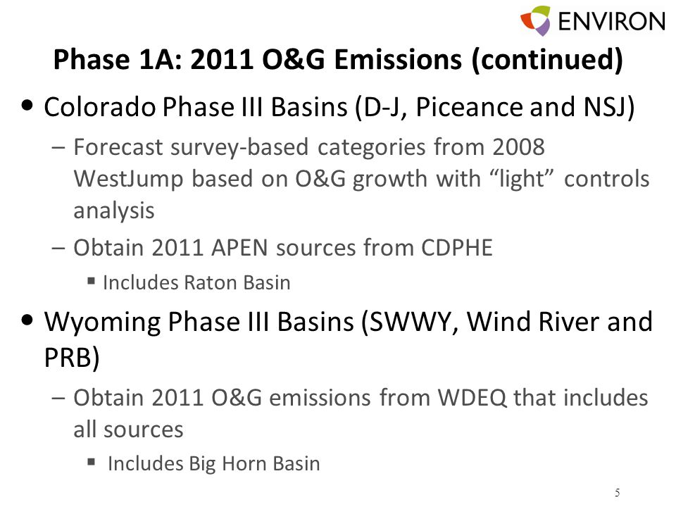 Phase 1A: 2011 O&G Emissions (continued) Colorado Phase III Basins (D-J, Piceance and NSJ) –Forecast survey-based categories from 2008 WestJump based