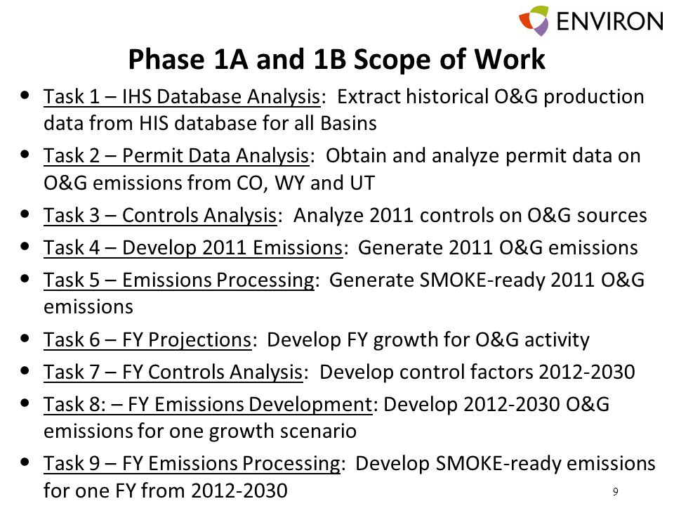 Phase 1A and 1B Scope of Work Task 1 – IHS Database Analysis: Extract historical O&G production data from HIS database for all Basins Task 2 – Permit