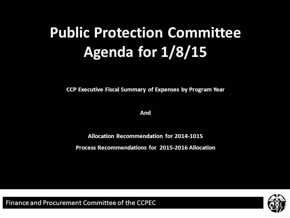 Finance and Procurement Committee of the CCPEC CCP Executive Fiscal Summary of Expenses by Program Year