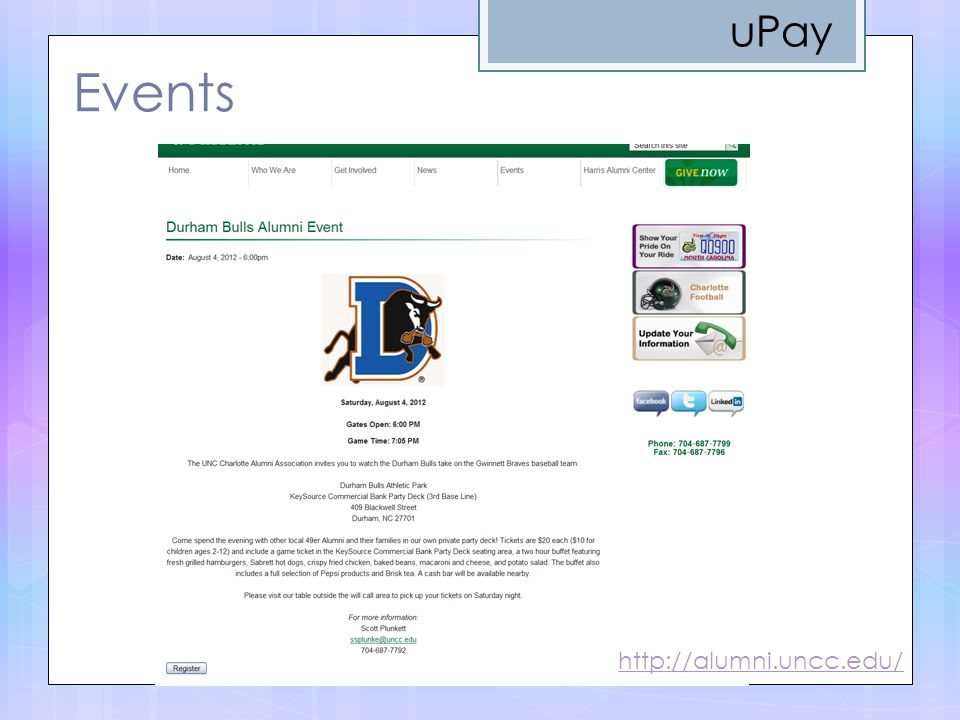 Events http://alumni.uncc.edu/ uPay