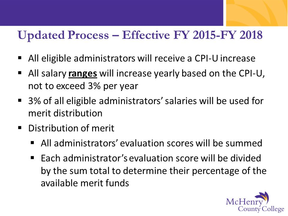Updated Process – Effective FY 2015-FY 2018  All eligible administrators will receive a CPI-U increase  All salary ranges will increase yearly based on the CPI-U, not to exceed 3% per year  3% of all eligible administrators' salaries will be used for merit distribution  Distribution of merit  All administrators' evaluation scores will be summed  Each administrator's evaluation score will be divided by the sum total to determine their percentage of the available merit funds