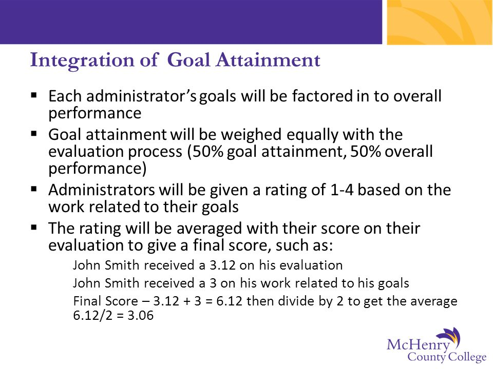 Integration of Goal Attainment  Each administrator's goals will be factored in to overall performance  Goal attainment will be weighed equally with the evaluation process (50% goal attainment, 50% overall performance)  Administrators will be given a rating of 1-4 based on the work related to their goals  The rating will be averaged with their score on their evaluation to give a final score, such as: John Smith received a 3.12 on his evaluation John Smith received a 3 on his work related to his goals Final Score – 3.12 + 3 = 6.12 then divide by 2 to get the average 6.12/2 = 3.06
