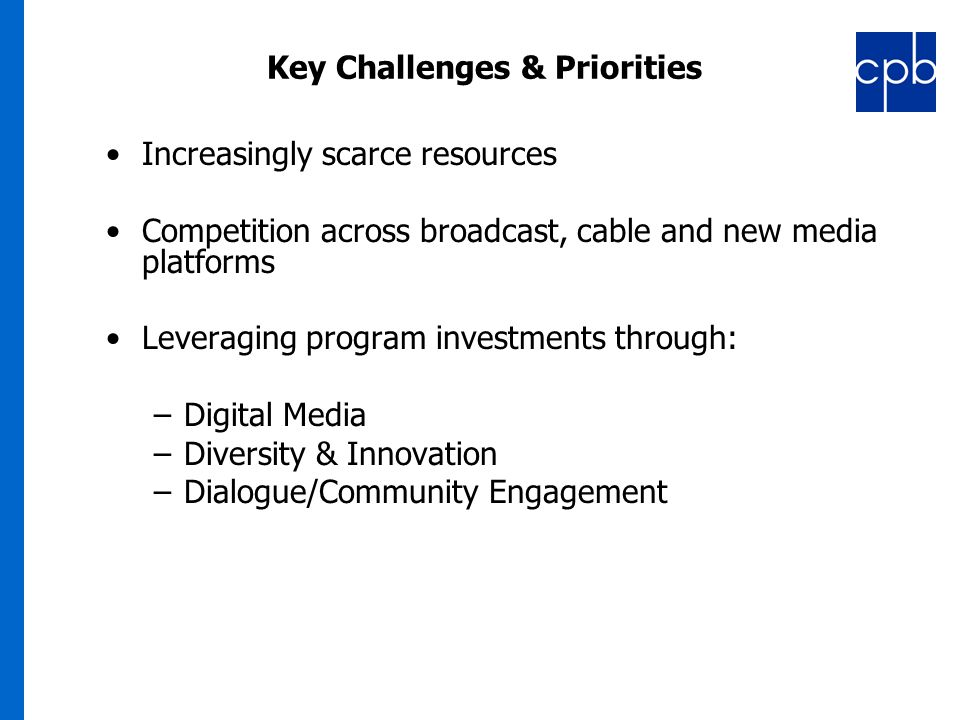 9 ` Key Challenges & Priorities Increasingly scarce resources Competition across broadcast, cable and new media platforms Leveraging program investments through: –Digital Media –Diversity & Innovation –Dialogue/Community Engagement