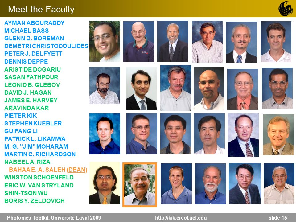 Photonics Toolkit, Université Laval 2009 http://kik.creol.ucf.edu slide 15 AYMAN ABOURADDY MICHAEL BASS GLENN D. BOREMAN DEMETRI CHRISTODOULIDES PETER