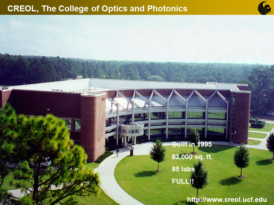 Photonics Toolkit, Université Laval 2009 http://kik.creol.ucf.edu slide 7 CREOL, The College of Optics and Photonics Built in 1995 83,000 sq. ft. 85 l