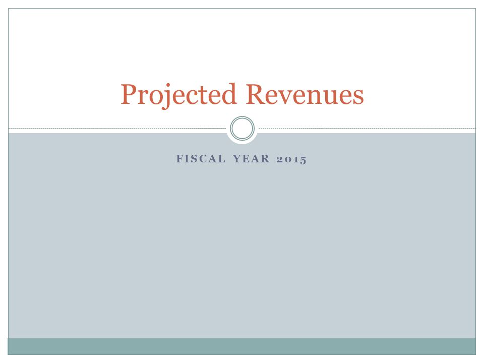 FISCAL YEAR 2015 Projected Revenues