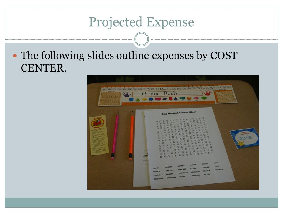 Projected Expense The following slides outline expenses by COST CENTER.