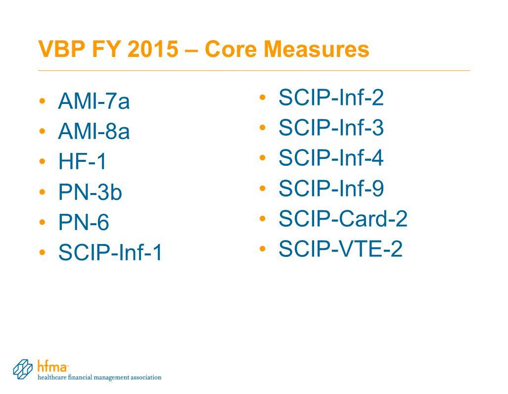 VBP FY 2015 – Core Measures AMI-7a AMI-8a HF-1 PN-3b PN-6 SCIP-Inf-1 SCIP-Inf-2 SCIP-Inf-3 SCIP-Inf-4 SCIP-Inf-9 SCIP-Card-2 SCIP-VTE-2