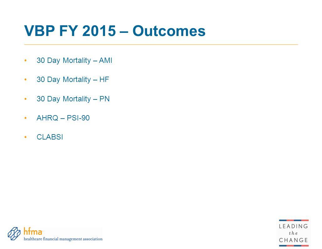 VBP FY 2015 – Outcomes 30 Day Mortality – AMI 30 Day Mortality – HF 30 Day Mortality – PN AHRQ – PSI-90 CLABSI