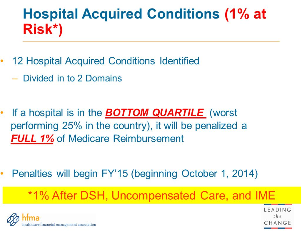 Hospital Acquired Conditions (1% at Risk*) 12 Hospital Acquired Conditions Identified –Divided in to 2 Domains If a hospital is in the BOTTOM QUARTILE