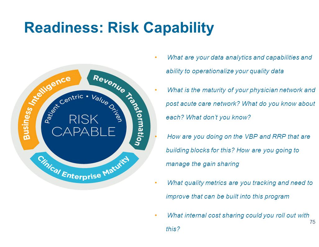 75 Readiness: Risk Capability What are your data analytics and capabilities and ability to operationalize your quality data What is the maturity of your physician network and post acute care network.