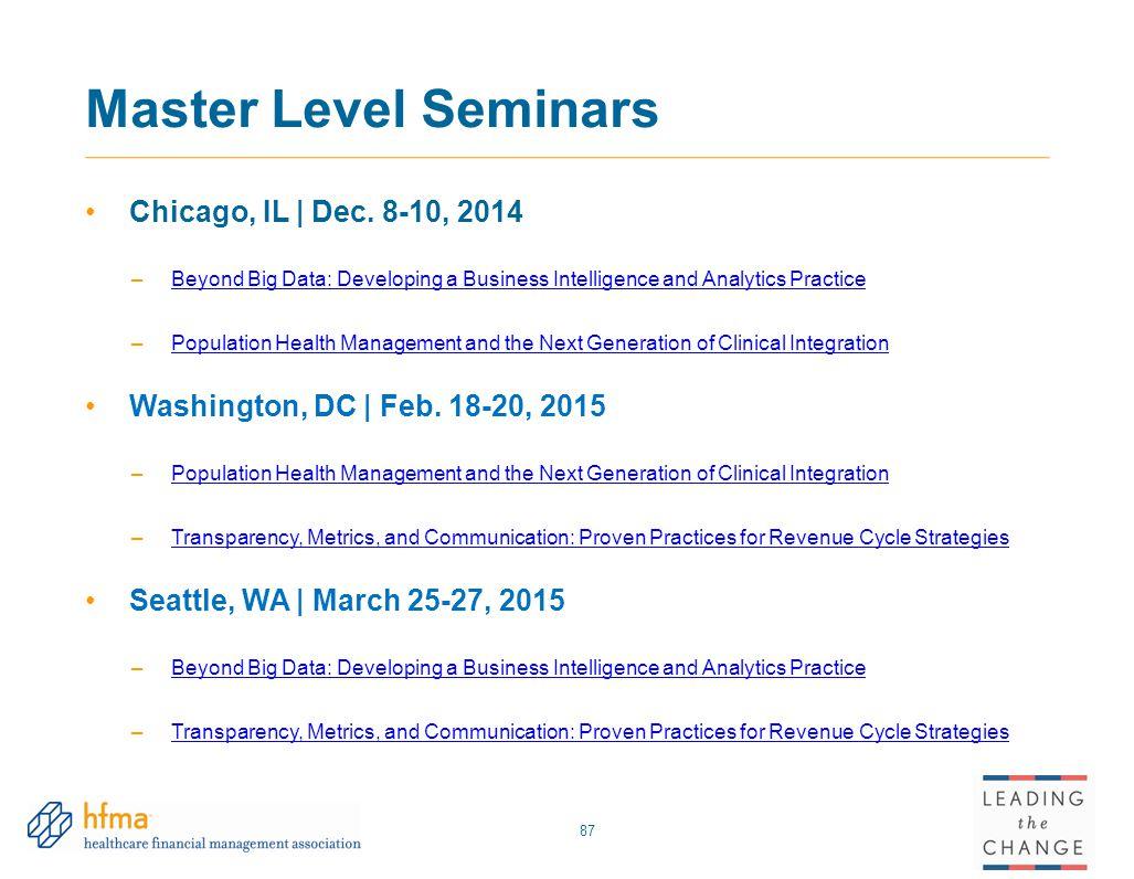 Master Level Seminars Chicago, IL | Dec. 8-10, 2014 –Beyond Big Data: Developing a Business Intelligence and Analytics PracticeBeyond Big Data: Develo