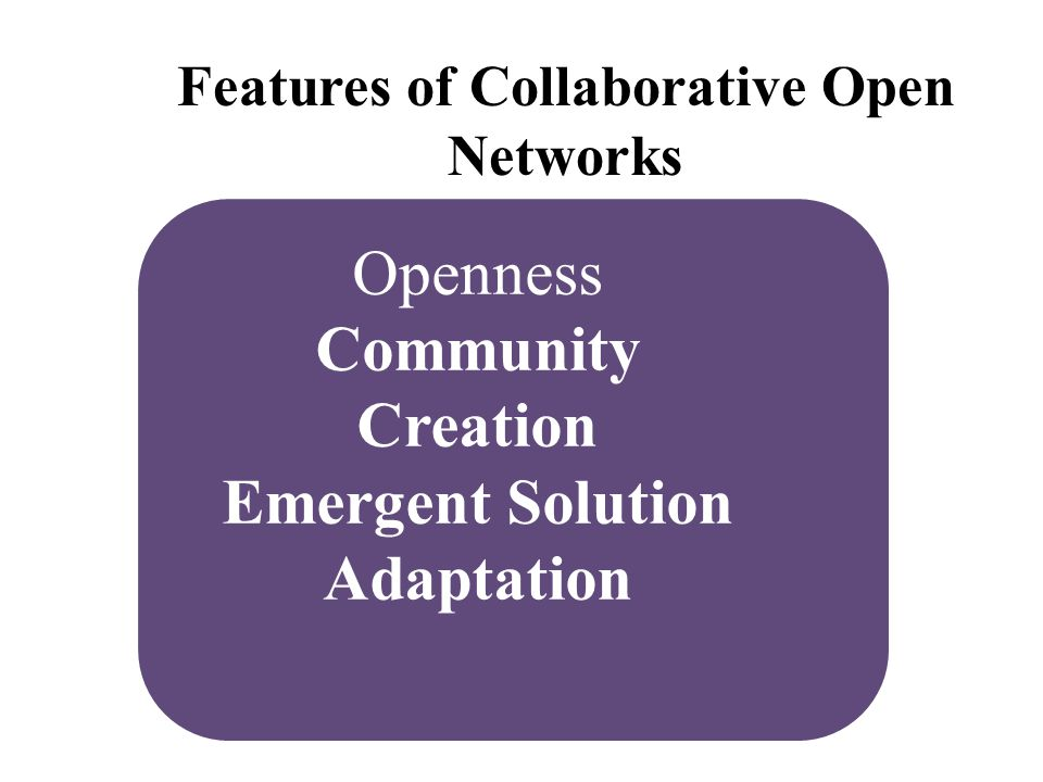Openness Community Creation Emergent Solution Adaptation Features of Collaborative Open Networks