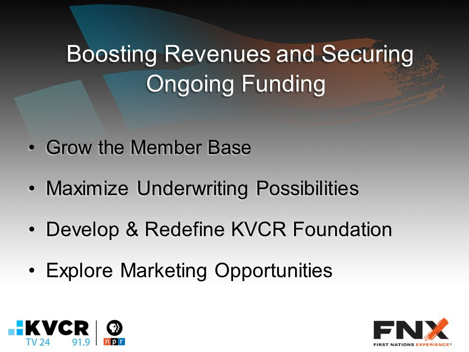 Boosting Revenues and Securing Ongoing Funding Grow the Member BaseGrow the Member Base Maximize Underwriting PossibilitiesMaximize Underwriting Possibilities Develop & Redefine KVCR FoundationDevelop & Redefine KVCR Foundation Explore Marketing OpportunitiesExplore Marketing Opportunities