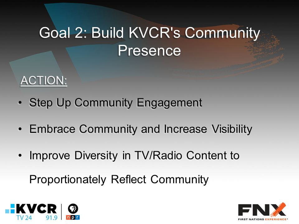 Goal 2: Build KVCR s Community Presence Step Up Community EngagementStep Up Community Engagement Embrace Community and Increase VisibilityEmbrace Community and Increase Visibility Improve Diversity in TV/Radio Content to Proportionately Reflect CommunityImprove Diversity in TV/Radio Content to Proportionately Reflect Community ACTION: