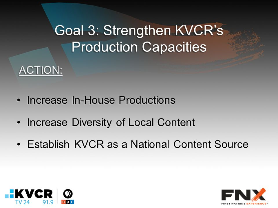Goal 3: Strengthen KVCR's Production Capacities Increase In-House ProductionsIncrease In-House Productions Increase Diversity of Local ContentIncrease Diversity of Local Content Establish KVCR as a National Content SourceEstablish KVCR as a National Content Source ACTION: