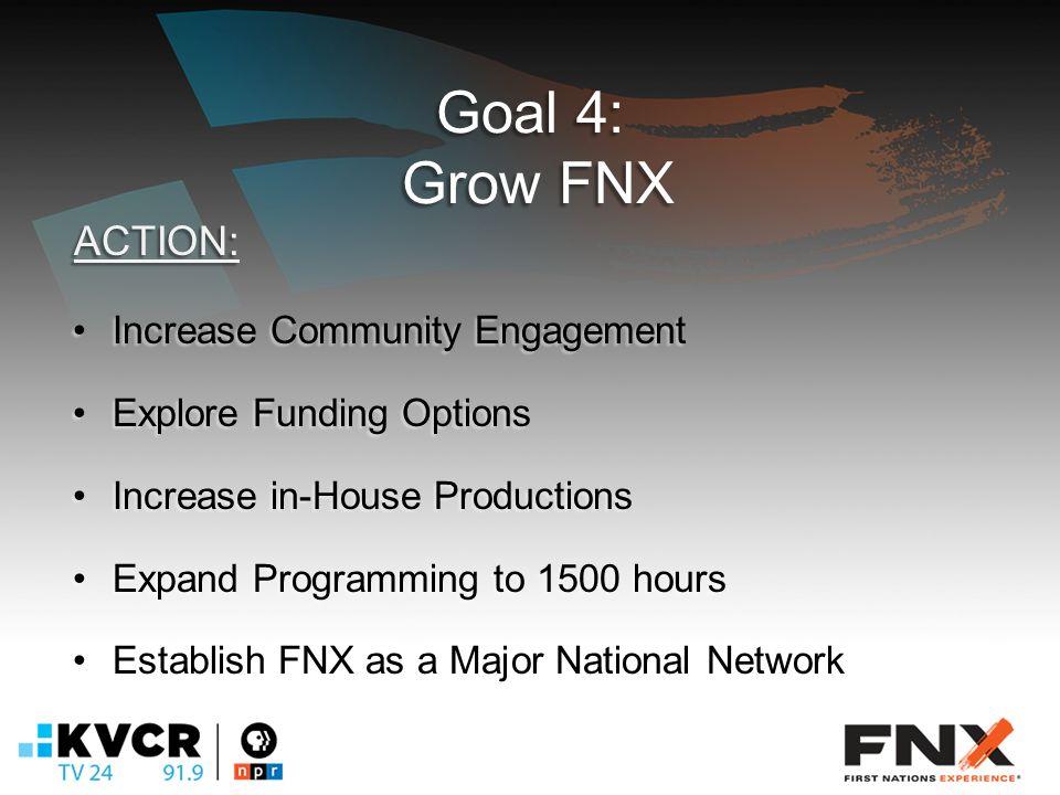 Goal 4: Grow FNX Increase Community EngagementIncrease Community Engagement Explore Funding OptionsExplore Funding Options Increase in-House ProductionsIncrease in-House Productions Expand Programming to 1500 hoursExpand Programming to 1500 hours Establish FNX as a Major National NetworkEstablish FNX as a Major National Network ACTION: