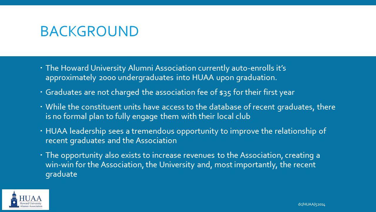 BACKGROUND  The Howard University Alumni Association currently auto-enrolls it's approximately 2000 undergraduates into HUAA upon graduation.