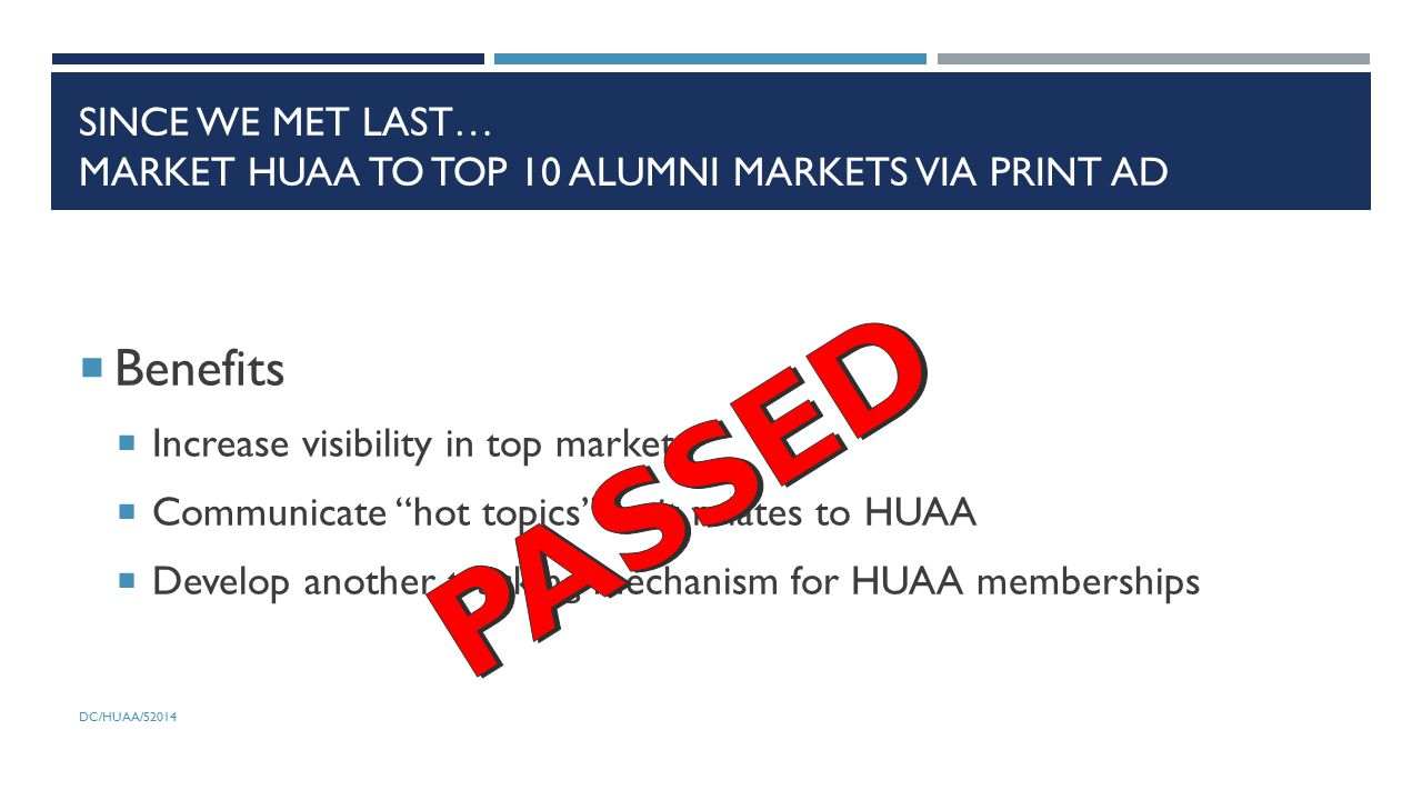 SINCE WE MET LAST… MARKET HUAA TO TOP 10 ALUMNI MARKETS VIA PRINT AD  Benefits  Increase visibility in top markets  Communicate hot topics as it relates to HUAA  Develop another tracking mechanism for HUAA memberships DC/HUAA/52014